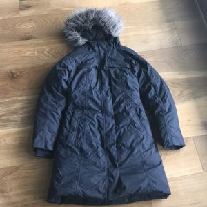 North Face Woman's Fur Lined Navy Parka